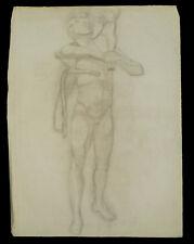 Dessin académique G. Banabéra 1900 Nu masculin bérger tête atelier étude fusain