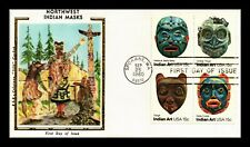 DR JIM STAMPS US NORTHWEST INDIAN MASKS COMBO UNSEALED FDC SILK COVER BLOCK