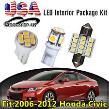 11PCS Interior LED Light Bulb Package Kit White For 2006-2012 Honda Civic Car US