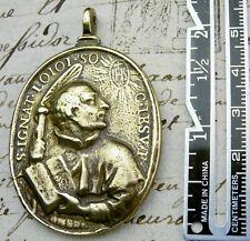 ANTIQUE 18TH CENTURY ST. IGNATIUS OF LOYOLA & ST. FRANCIS XAVIER BRONZE MEDAL