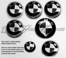 BLACK + WHITE CARBON FIBER BADGE CORNERS FOR BMW M M1 F20 F21 E81 E82 E87 E88