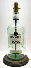 BACARDI RUM Large 1.75L Liquor Bottle TABLE LAMP Light Wood Base Bar Lounge