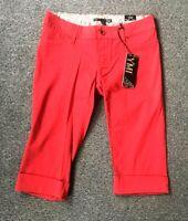 YMI NWT Womens Cropped Capri Cuffed Pants 5 Juniors Red Cotton Stretch