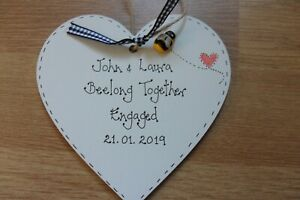 Personalised Engagement Wedding Heart keepsake We beelong Together gift plaque