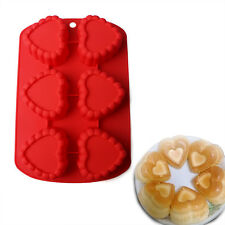 6 Cavity Heart Shaped Silicone Mold Pudding Muffin Chocolate Cake Bakeware Mould