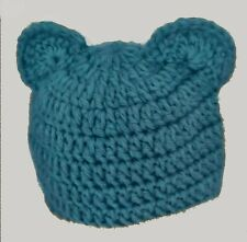 CROCHET BABY TEDDY BEAR BEANIE ears blue chunky new gift photography prop outfit