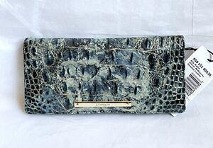 New Brahmin Melbourne Ady Croc Embossed Leather Slim Wallet GLACIER