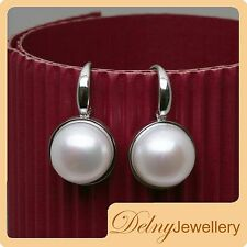 Brand New 925 Sterling Silver White Freshwater Pearl Hook Earrings Delny