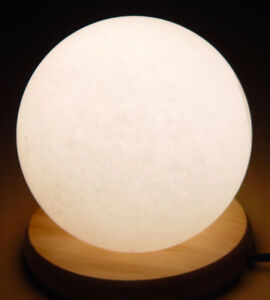 White Globe Salt Lamp Prime-Pure Quality Himalayan Crystal With Wood/Base 2-3kg