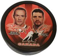 TEAM CANADA STARS STEVE YZERMAN HOF & OWEN NOLAN STATS HOCKEY PUCK NHL SLOVAKIA
