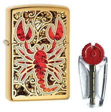 Scorpion Shell Zippo Lighter in Polished Brass 29096 - FREE FLINTS & P&P