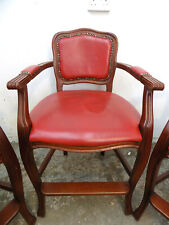 More details for vintage,high back,wooden,red,leather,bar stool,cabriole legs,arms,stool