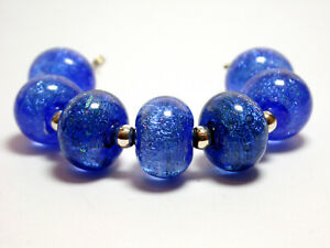 VictoriaGail Lampworked Beads- Iced Cobalt Sm