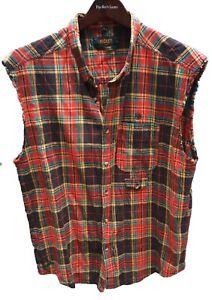 10 Deep Men's Shirt Size XL Checkered Sleeveless Raw-Hem 100% Cotton Casual VGUC