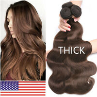 1-3Bundles Brazilian THICK 8A Virgin Human Hair Body Wave Weave Extensions Brown