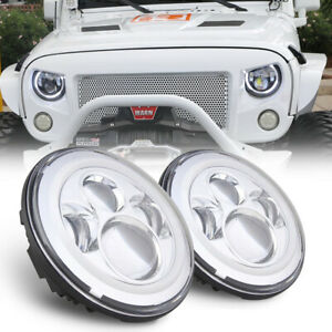 2x7''Inch LED Headlights Halo Angle Eyes DRL Turn Signal Light For Jeep Wrangler
