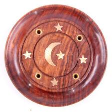 Incienso (palillo) de Madera Redondo Ceniza Catcher Con Incrustaciones De Luna & Estrellas. hecho a mano