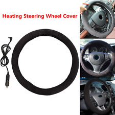 "12V Black 15"" Car SUV Heated Steering Wheel Covers Keep Warm Winter Universal"