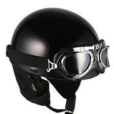 [ Black ] Vintage Goggle Helmets Scooter Half Face Motorcycle Motorbike