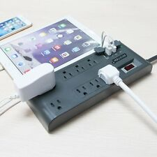 BESTEK 8-Outlet Surge Protector Power Strip 12 Feet Cord with 5.2A 4-Port USB