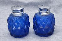 Vintage Blue Diamond Cut Salt and Pepper Shakers