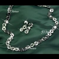 18k white gold gf made with swarovski crystal earrings necklace link chain set