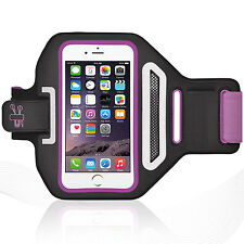 "iPhone 6/6S 4.7"" Purple Lycra Armband Running Reflective CreditCard Holder"
