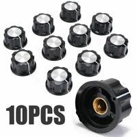 10 * Schwarz Silber Potentiometer Knopf Kappe Rotary Steuerung Schalter für