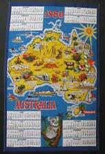 1980 Australiana Calendar Souvenir Cotton Tea Towel