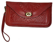 Leather Handbag Pouch Purse Moroccan Women  Makeup Clutch Wristlet Wallet Red