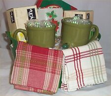 Gift Basket Green Tea Mug Candy Dish Towels Ande Mints Holiday Gifts