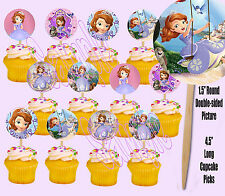 Sofia the First Disney Princess Double-Sided Cupcake Picks Cake Toppers -12 pcs