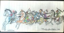 Original Indian School Ledger Drawing. Timothy Clearwater 1914.