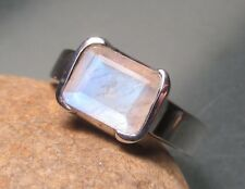 925 sterling silver cut rainbow moonstone ring UK M½-¾/US 6.75. Gift bag
