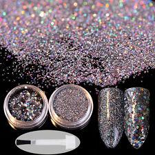 Nail Art Sequins Glitter Powder Black Paillette with Brush Manicure Decoration