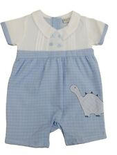 BNWT Baby boys all in one blue & white Dinosaur romper suit outfit clothes