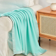 Robin Egg Blue Satin Bed Blanket Summer Fleece Blanket Cozy Blanket T/Q/K Size