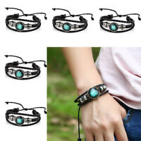 Men Women 12 Constellation Star Sign Zodiac Braided Woven Leather Bracelets