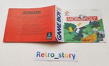 Nintendo Game Boy Monopoly Notice / Instruction Manual
