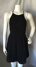 Abercrombie & Fitch Black Cotton Eyelet Fit N Flare Sun Dress Cage Straps L