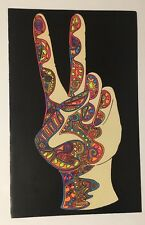 The Hand Peace Fingers Blacklight Poster Pin-up Double Sided Psychedelic Dayglow