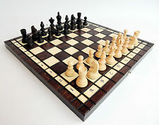 BRAND NEW HANDCRAFTED OLYMPIC WOODEN CHESS SET 34cm x 34cm
