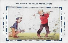 """Golf Comic:  """"We plough the fields and scatter"""" vintage postally used in 1934"""