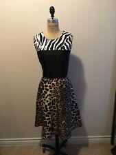 Rodarte Size 10 Black White Brown Animal Print  Silk Dress