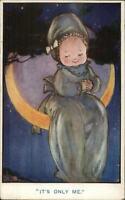 Cute Baby Pajamas Bonnet Citting on Moon c1915 Postcard