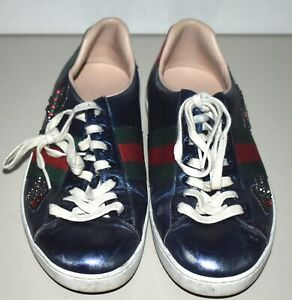 Gucci Ace Embroidered Jewel Arrow Sneaker Metallic Blue Sz 8.5 US