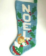 Unused Vintage Needlepoint Christmas Stocking Noel Angel Holly- From a kit