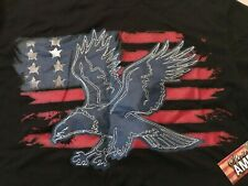 Spirit of America T Shirt Men Medium Black Embroidered Eagle American Flag