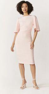 BNWT Coast Flare Sleeve Crepe Dress Blush Pink UK10 RRP £89.00