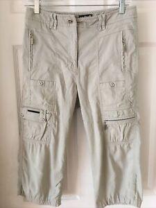 Jamie Sadock Golf Capri Pants Sz 6 Zip Pockets Loops Water Resistent Green Khaki